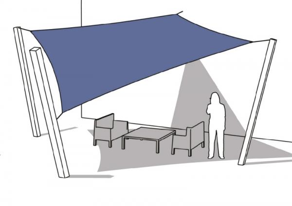 Schaduwdoek 2 5x2 5.Bevestigingsmaterialen Vierkant Schaduwdoek 1 Punt Aan De Gevel